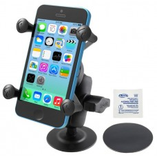 PSA Adhesive Mount with Short Double Socket Arm & Universal X-Grip® Cell Phone Holder